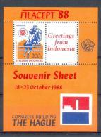 Mgm1345 FAUNA PAARDEN PAARDENSPORT FILACEPT STAMP EXHIBITION THE HAGUE HORSES PFERDE CHEVAUX INDONESIA 1988 PF/MNH - Paarden