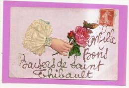 CPA60 - SAINT THIBAULT - MILLE BONS BAISERS (CARTE FANTAISIE - MAIN AVEC ROSES)  - état Voir Descriptif - France