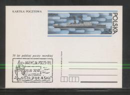 POLAND PC 1983 50 YEARS POLISH MARITIME POST MINT PULASKI SHIP BOAT CANCEL CP 822 SHIPS STEAM LINER - Schiffe