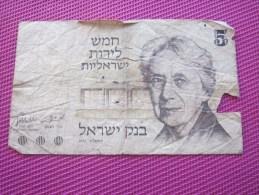 Note Bank  Banca Billet De Banque Bank Of Israël 5 Lire 1973 - Israel