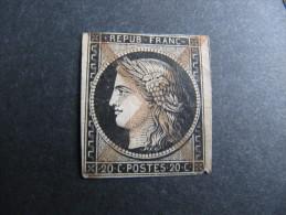 R-98 Rare Oblitération à La Plume  Certainement  Janvier 1849  Dallay 1 Variété Curiosité France 2e II République Céres - Marcophilie (Timbres Détachés)