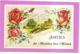 CPSM62 - MARLES LES MINES - AMITIES (CARTE FANTAISIE AVEC DES FLEURS) - état Voir Descriptif - France