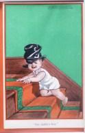 LITHO Chromo Illustrateur SPURGIN Enfant Bébé Dans Escalier Chapeau Haut De Forme Daddy Boy Series KIDDOO N° 382 LONDON - Spurgin, Fred