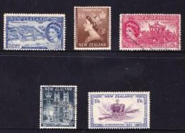 New Zealand 1953 Coronation Set Of 5 Used - - - New Zealand