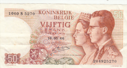 Billet  - B1015 -  Belgique -  Vijfik  Frank 1966 ( 2 Scans) - [ 2] 1831-... : Koninkrijk België