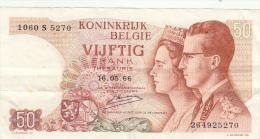 Billet  - B1015 -  Belgique -  Vijfik  Frank 1966 ( 2 Scans) - [ 2] 1831-... : Belgian Kingdom