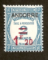 Andorre F TAxe  N°13 N* TB Et Signé  Cote 100 Euros !!!RARE - Timbres-taxe