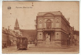CPA90 Belgium 1932 Pepinster Hotel De Ville Tram Posted Petange, Luxembourg To Budapest - Pepinster