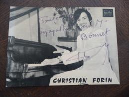 Sur Carte Pub Autographe Et Dédicace Du Pianiste Organiste Christian Forin. Béziers. - Autogramme