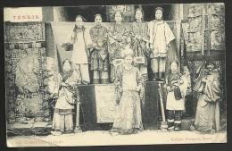 TONKIN 1906 - CP - Comediens Chinois - 10c Avec Bord De Feuille A Paris - Indochine Francaise - Viêt-Nam