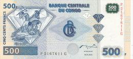 BILLETS  -BANQUE CENTRALE DU CONGO   - 500 FRANCS  4-1-2002 - República Del Congo (Congo Brazzaville)
