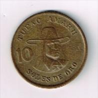 Peru 10 Soles De Oro 1978 Tupac Amaru - Peru