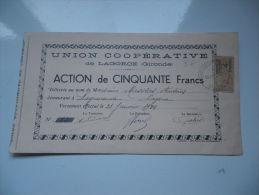 UNION COOPERATIVE DE LAGORCE (gironde) 1934 - Shareholdings