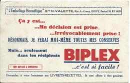 Buvard/Emballage Hermétique/BIPLEX/ Ets R. Valette/BRIVE/ Corréze/Vers 1945-1955    BUV52 - Alimentaire