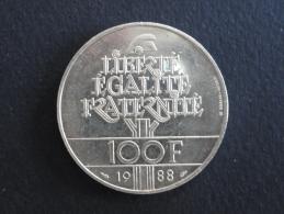 1988 - 100 Francs Commémorative FRATERNITE Argent - France - Francia