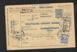 Hungary Parcel Card 1917 To Turkey - Hungary
