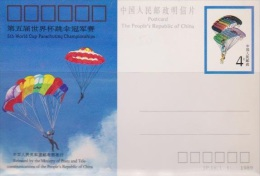 Taiwan 1989 5th World Cup Parachuting Championship Postal Card - Taiwán (Formosa)