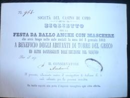 VESUVIO-COMO 1862 Biglietto Lotteria Ballo In Maschera A Beneficio Degli Abitanti Di Torre Del Greco (eruzione 1861) RRR - Vecchi Documenti