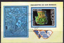 500 Jahre Entdeckung Amerika 1988 Nikaragua Block 181 O 3€ Schiff Azteken Keramik-Krug Bf Ship Bloc Art Sheet Of America - Nicaragua