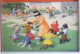 Litho Illustrateur MKZ Künzli 4699 Grand Chat Humanisé CHATON RONDE COLIN MAILLARD Bac A Sable Jeu Jouet - Chats