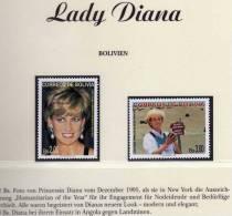 Ehrung Von Diana 1997 Bolivien 1362/3 ** 6€ Memorial Porträt Lady Di With Perlen Princess Of Wales Stamp Of Bolivia - Bolivie