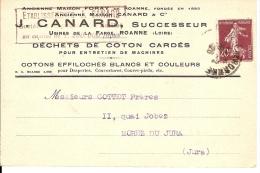 42 - Roanne- Carte Publicitaire -  1926 - J Canard - Marcophilie- Usine De La Farge - Cotons - - France