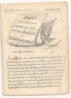 @N°3 LA LANTERNE  DE BOQUILLON PAR A. HUMBERT N° 73 8 DECEMBRE 1872  HUMOUR CARICATURES PATOIS MANQUE LA COUVERTURE - Non Classés