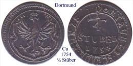 DL-1754, 1/4 Stüber, Dortmund - [ 1] …-1871 : German States