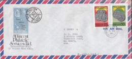 St. Vincent Cover To USA Scott #1073, #1079 15c And 50c East Caribbean Currency - St.Vincent (1979-...)
