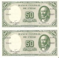 PAREJA CORRELATIVA DE CHILE DE 50 PESOS DEL AÑO 1960-61 (BANKNOTE) SIN CIRCULAR-UNCIRCULATED - Chile