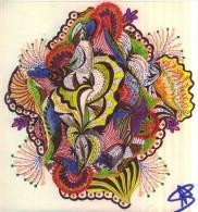 """Oeuvre Originale Unique  Aux Crayons à Bille   """" Feux D'artifices """" Papier Souple  Format  21 X 21cm N°119 - Pastel"""