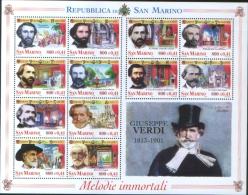 San Marino 2001 Music  Souvenir Sheet 100° Morte Di Giuseppe Verdi  12v Complete Set  ** MNH - Unused Stamps