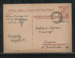POLAND 1954 PROVISIONAL 40GR OPT TYPE 19 ON 30+15 GR CONSTRUCTION WITH REPLY PAID  PC DATE IX.52 PROPAGANDA SLOGAN 21C - Stamped Stationery