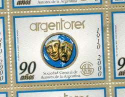 ARGENTORES SOCIEDAD GENERAL DE AUTORES DE  ARGENTINA 90 AÑOS 1910-2000 DIBUJANTE ERCILIA ALONSO IMPRIMIO CASA DE MONEDA - Fantasie Vignetten