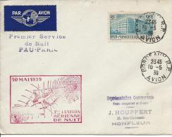Premier Service Aérien De Nuit Pau - Paris - Marcophilie (Lettres)