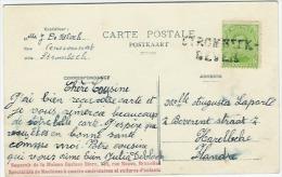 Pk 5 Ct Naamstempel STROMBEEK-BEVER Naar Harelbeke (verso Palais De Justice) - 1915-1920 Albert I