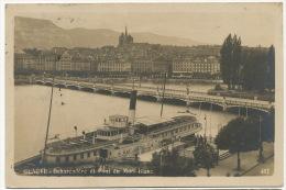 Geneve Bateau A Aube Paddle Boat 487 Debarcadere Et Pont Du Mont Blanc Bateau La Suisse Edit Naine Robert - GE Geneva