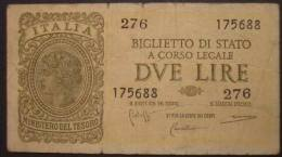 M_p> Regno Vitt Eman III° Banconota 2 Lire Bolaffi - Cavallaro - Giovinco 23 11 1944 - [ 1] …-1946 : Koninkrijk