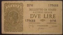 M_p> Regno Vitt Eman III° Banconota 2 Lire Bolaffi - Cavallaro - Giovinco 23 11 1944 - Italia – 2 Lire