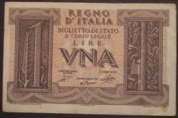 M_p> Regno Vitt Eman III° Banconota 1 Lira Serie Impero Grassi - Porena - Giovinco 14 11 1939 - [ 1] …-1946 : Koninkrijk