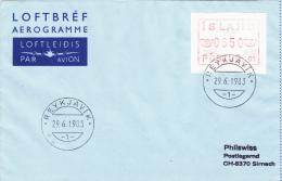 ATM On Cover: Iceland 1983 Mi.1 FDC Anr. 01 (G51-30) - ATM - Frama (viñetas)