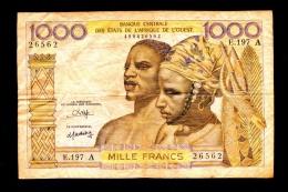 """1000 Francs """"COTE D´IVOIRE""""  Lettre A 22 Avril 1942   F/VF TB+  Ble 52 - Costa De Marfil"""