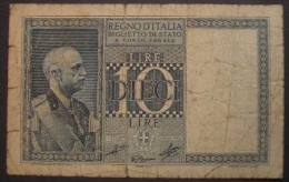 M_p> Regno Vitt Eman III° Banconota 10 Lire Grassi - Cossu - Porena Decreto 1939 XVIII - [ 1] …-1946 : Koninkrijk