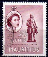 MAURITIUS 1953 Queen Elizabeth II - 20c La Bourdonnais Statue FU - Maurice (...-1967)