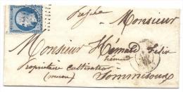 Enveloppe De Nancy Pour Sommesous 1854, Timbre N°10  PC2217, Au Verso Cachet Et Cursive Sommesous - 1849-1876: Classic Period