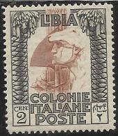 LIBIA 1924-9  PITTORICA SENZA FILIGRANA 2 CENT. MNH OTTIMA CENTRATURA - Libya