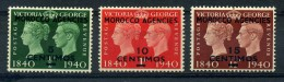 MOROCCO  AGENCIES    1940      Centenary  Of  First  Adhesive  Stamps   Short  Set  Of  3    MH - Stamps