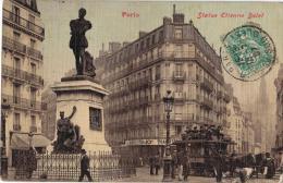 Carte Postale Ancienne PARIS : Statue Etienne Dolet - Arrondissement: 19