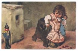 """AK KAULBACH - """"Ein Unheimlicher Geselle"""" - Kleines Mädchen Mit Puppe Fürchtet Sich Vor Spielzeug-Soldat - Kaulbach, Hermann"""