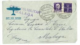 ITALIA REGNO - STORIA POSTALE - POSTA AEREA - CENSURA MILITARE MALAGA - ANNO 1938 - Correo Aéreo